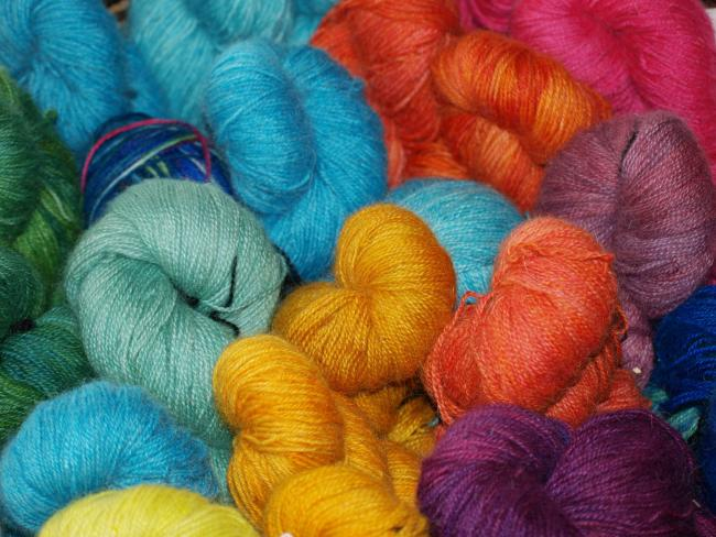 handgefärbte Mohairwolle